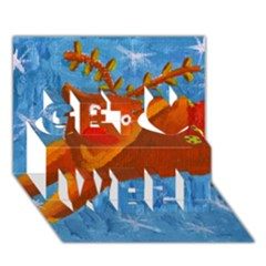 Rudolph The Reindeer Get Well 3d Greeting Card (7x5)