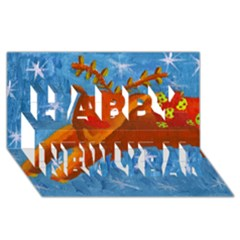 Rudolph The Reindeer Happy New Year 3D Greeting Card (8x4)