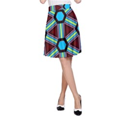 Stripes and hexagon pattern A-line Skirt