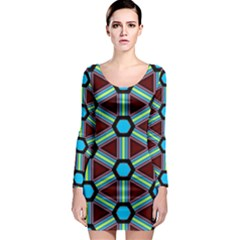 Stripes and hexagon pattern Long Sleeve Bodycon Dress