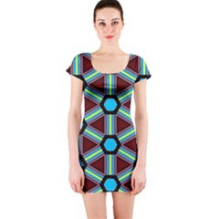 Stripes and hexagon pattern Short sleeve Bodycon dress