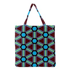 Stripes and hexagon pattern Grocery Tote Bag
