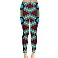 Stripes And Hexagon Pattern Leggings