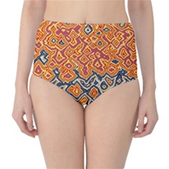 Red blue yellow chaos High-Waist Bikini Bottoms