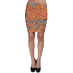 Red blue yellow chaos Bodycon Skirt