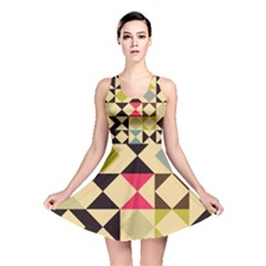 Rhombus and triangles pattern Reversible Skater Dress