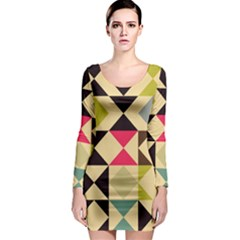 Rhombus and triangles pattern Long Sleeve Bodycon Dress