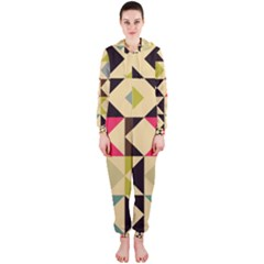 Rhombus and triangles pattern Hooded OnePiece Jumpsuit