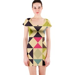 Rhombus and triangles pattern Short sleeve Bodycon dress