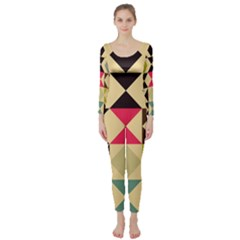Rhombus and triangles pattern  Long Sleeve Catsuit