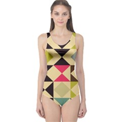 Rhombus and triangles pattern Women s One Piece Swimsuit