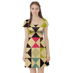 Rhombus And Triangles Pattern Short Sleeve Skater Dress