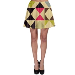 Rhombus and triangles pattern Skater Skirt