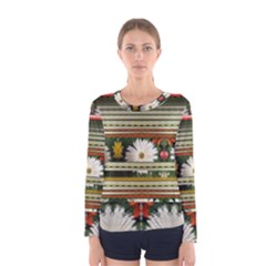 Pattern Flower Women s Long Sleeve T Shirts