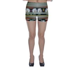Pattern Flower Skinny Shorts