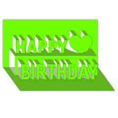 Bright Fluorescent Neon Green Happy Birthday 3D Greeting Card (8x4)