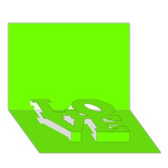 Bright Fluorescent Neon Green LOVE Bottom 3D Greeting Card (7x5)