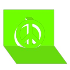 Bright Fluorescent Neon Green Peace Sign 3D Greeting Card (7x5)