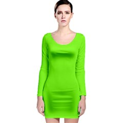 Bright Fluorescent Neon Green Long Sleeve Bodycon Dresses
