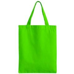 Bright Fluorescent Neon Green Zipper Classic Tote Bags