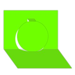 Bright Fluorescent Neon Green Circle 3D Greeting Card (7x5)