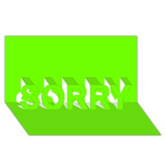 Bright Fluorescent Neon Green SORRY 3D Greeting Card (8x4)