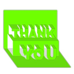 Bright Fluorescent Neon Green THANK YOU 3D Greeting Card (7x5)