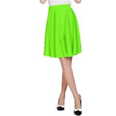 Bright Fluorescent Neon Green A-Line Skirts
