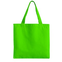 Bright Fluorescent Neon Green Zipper Grocery Tote Bags