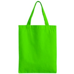 Bright Fluorescent Neon Green Zipper Classic Tote Bags