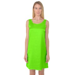 Bright Fluorescent Neon Green Sleeveless Satin Nightdresses