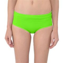 Bright Fluorescent Neon Green Mid-Waist Bikini Bottoms