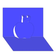 Neon Blue Apple 3D Greeting Card (7x5)