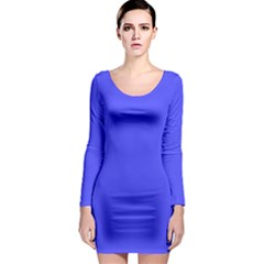 Neon Blue Long Sleeve Bodycon Dresses