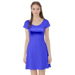 Neon Blue Short Sleeve Skater Dresses