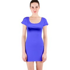 Neon Blue Short Sleeve Bodycon Dresses