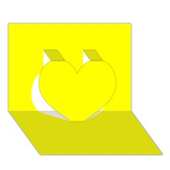 Bright Fluorescent Yellow Neon Heart 3D Greeting Card (7x5)
