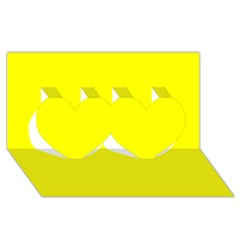 Bright Fluorescent Yellow Neon Twin Hearts 3D Greeting Card (8x4)