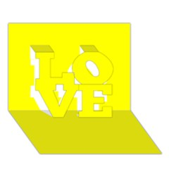 Bright Fluorescent Yellow Neon LOVE 3D Greeting Card (7x5)