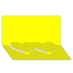 Bright Fluorescent Yellow Neon Twin Heart Bottom 3D Greeting Card (8x4)