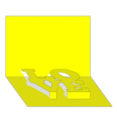 Bright Fluorescent Yellow Neon LOVE Bottom 3D Greeting Card (7x5)