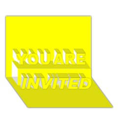 Bright Fluorescent Yellow Neon YOU ARE INVITED 3D Greeting Card (7x5)