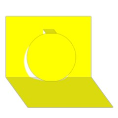 Bright Fluorescent Yellow Neon Circle 3D Greeting Card (7x5)