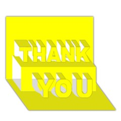 Bright Fluorescent Yellow Neon THANK YOU 3D Greeting Card (7x5)