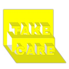 Bright Fluorescent Yellow Neon TAKE CARE 3D Greeting Card (7x5)