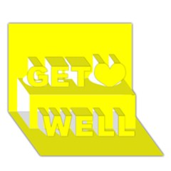 Bright Fluorescent Yellow Neon Get Well 3D Greeting Card (7x5)