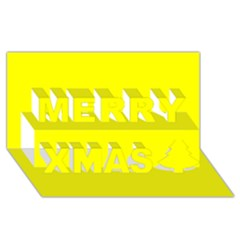 Bright Fluorescent Yellow Neon Merry Xmas 3D Greeting Card (8x4)