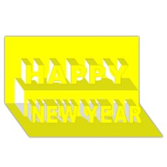Bright Fluorescent Yellow Neon Happy New Year 3D Greeting Card (8x4)