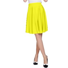 Bright Fluorescent Yellow Neon A-Line Skirts