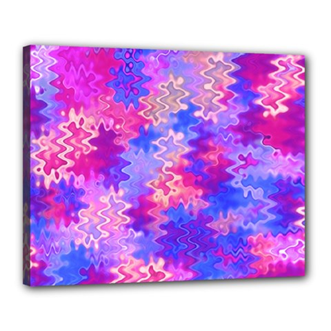 Pink And Purple Marble Waves Canvas 20  X 16